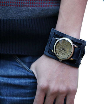 Fabulous 2016 1pc New Cool Style Retro summer unique Punk Rock Brown Big Wide Leather Bracelet Cuff Watches men watch women