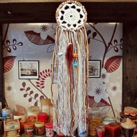 Bohemian Dreamcatcher - Very Hippie  Day  -  Small Rustic Dream Catcher - Boho Wall Hanging Dream Catcher - Bedroom Decor
