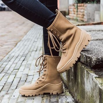 Vintage Style Nubuck Leather Dr. Martens Boots for Women Thick Sole Platforms Hiker Boots Ladies Motorcycle Boots Western Boots