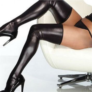 Women's thigh high stockings Patent Leather Stretchy Non-slip hosiery