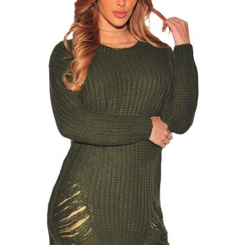 Chicloth Green Ripped Knit Long Sleeves Sweater