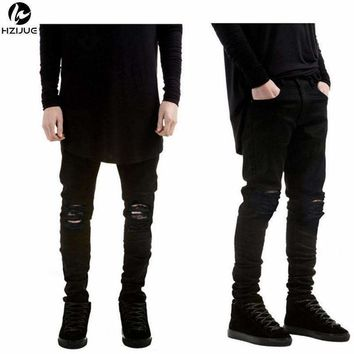 Hzijue Black Ripped Jeans Men With Holes Super Skinny Famous Designer Brand Slim Fit Destroyed Torn Jean Pants For Male