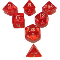 Red Translucent Color - Pack of 7 Polyhedral Dice (7 Die in Set) | Role Playing Game Dice | D4, D6, D8, D10, D%, D12, and D20