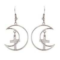 METALLIC MOON CROSSES EARRINGS