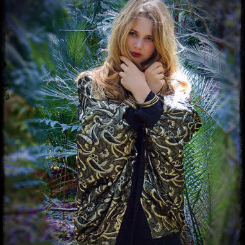 Huge cocoon coat / 1980s gold and black metallic paisley brocade trophy cape / a Shakespearean drama / bold boho cardigan wrap
