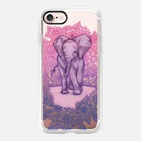Cute Baby Elephant in pink, purple & blue on transparent iPhone 7 Case by Micklyn Le Feuvre | Casetify