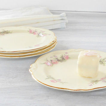 Homer Laughlin Virginia Rose Small Plates, Set of 4, Tea Parties, Cottage Style, Weddings, Bread and Butter, Dessert Plates, K61 N4