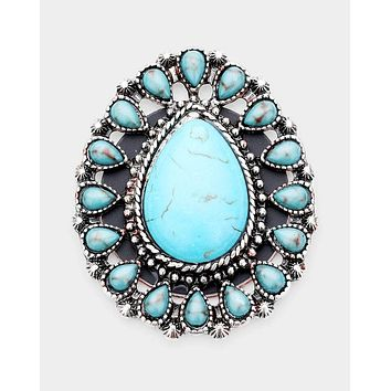Turquoise Stone Self Adhesive Charm for Popsocket Style Phone Grip