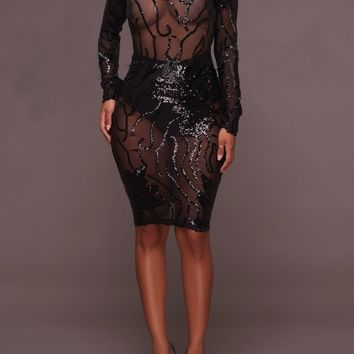 Black Patchwork Sequin Grenadine Backless Bodycon Band Collar Party Mini Dress