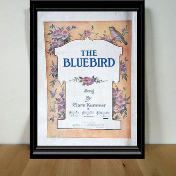 The Bluebird Piano Sheet Music {1916} Vintage Paper Ephemera