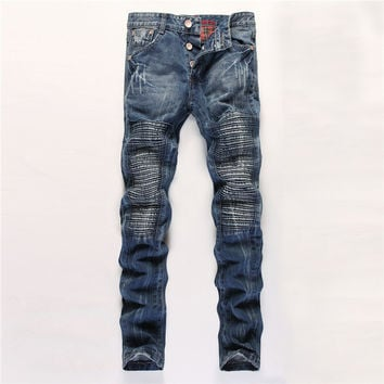 Classics Fashion Men's Fashion Slim Mosaic Denim Pants [6541761155]