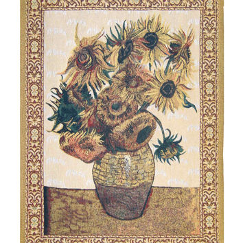 Sunflowers -  Beige Tapestry Wall Art Hanging