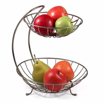 2017 New Home Decor 2 Tiers Stainless Steel Fruit Basket Rack Tray Fashion Style Kitchen Vegetable Storage Bowl Lemon Holder