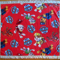 Paw Patrol fleece blanket with gray satin edge sizes baby, toddler, oversize toddler and twin
