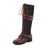 KARKEIN Women's Inside Zip Military Combat Boots Lace Up Buckle Knee High Denim Riding boots
