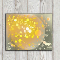 Abstract wall decor print Moon galaxy photo printable Yellow gray Bokeh Photo overlay Grey art Sparkling Christmas Stars INSTANT DOWNLOAD
