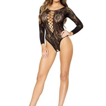 Roma USA Long-Sleeved Romper Bodystocking Teddy