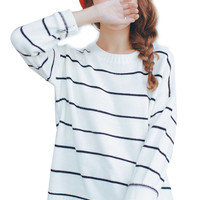 Causal Stripe Knitted Long Sleeve Pullover Woman Sweater