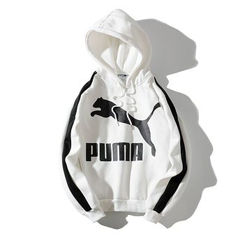 PUMA 2018 autumn and winter new products plus velvet loose hooded sweater White