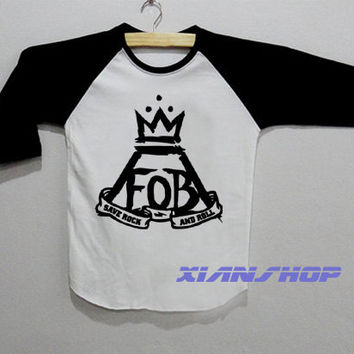 FOB Fall Out Boy Logo Save Rock Shirt Baseball Raglan T Shirt White Tee Shirt Unisex Size Size S M L - XD01