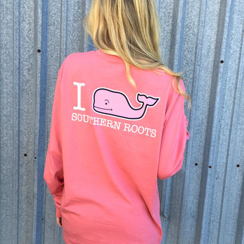 Vineyard Vines Long Sleeve Custom Tee- Southern Roots- Lobster Reef