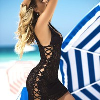 DCCK6SV Black Lace Up Beach Cover Up