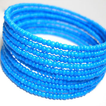 Memory Wire Bracelet Blue Stacked Bracelet Beaded Wrap Bracelet