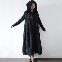 Winter Dress Plus Size Open Stitch Loose Waist Cotton Linen Black Cloaks Hood and Capes  for Women Black Long Outwear Robe Longu