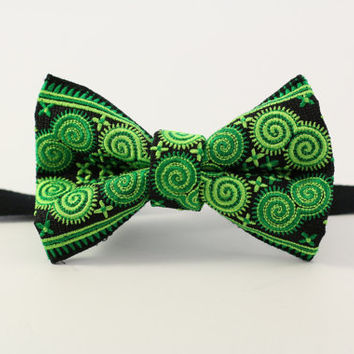 Green Yellow bow tie