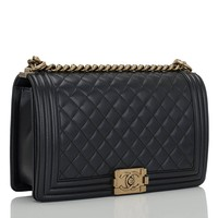 Chanel Black Pearly Quilted Lambskin Large Boy Bag