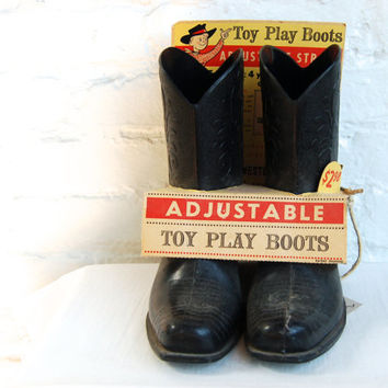 Vintage Toy Cowboy Boots Western Kids Room Decor New In Package Mid Century Adjustable Boot