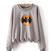 *Free Shipping* Grey Cotton Blend Sawtooth Hem Bat Tylers Pokemon Top TBHTK903 from clothingloves