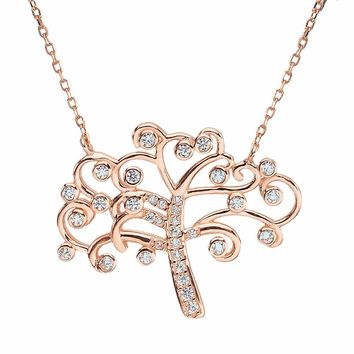 Bella Fashion 925 Sterling Silver Tree Bridal Necklace Cubic Zircon Pendant Necklace For Wedding Party Jewelry Silver/Rose Gold