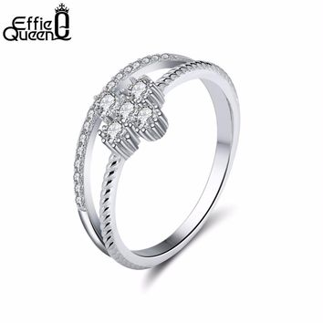 Effie Queen Simple Design Silver Color 2 Rounds Fashion Wedding Ring Set Cubic Zirconia Jewelry For Women As Christmas Gift DR64
