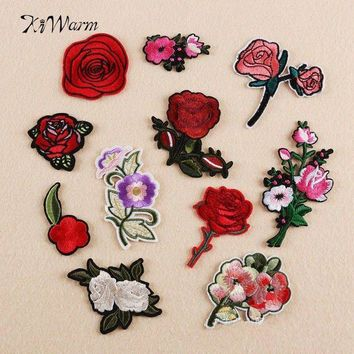 ac NOOW2 Embroidered Rose Flower Applique Patches 11Pcs Sew Iron Patch Badge Bag Clothes Applique DIY Apparel Sewing Craft Needlework