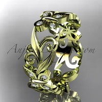 14kt yellow gold diamond leaf and vine butterfly wedding ring, engagement ring, wedding band ADLR144