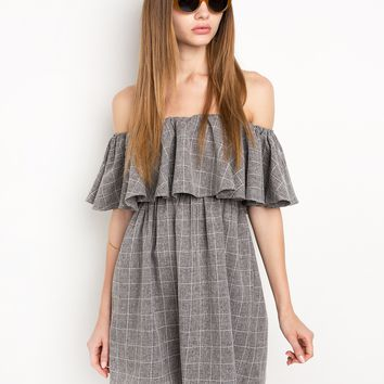Grey Grid Off The Shoulder Dress by New Revival