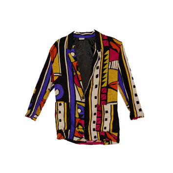 Vintage Geometric Cardigan Colorful Tribal Patterned Blazer Womens Jacket Size Small Ladies Funky Outerwear