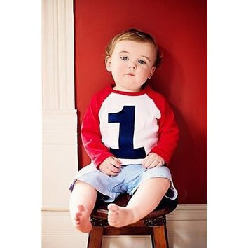 Fan Photo- My First Birthday Shirt- Raglan 1st Birthday T Shirt Boy