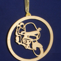 Honda Goldwing Christmas Tree Ornament Handcrafted from Birch Wood