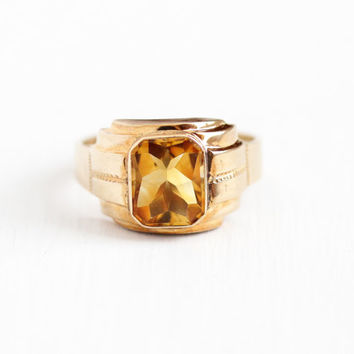 Vintage 10k Rosy Yellow Gold Art Deco Citrine Ring - 1930s Size 10 1/4 Men's Yellow Orange Gemstone November Birthstone Fine Jewelry