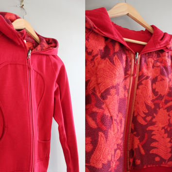 Lululemon Reversivble Zip Up Hoodie Reversivble Red Hooded Sweatshirt Zip Up Hoodie 2 in 1 Jacket Yoga Vintage Minimalist 90s Sweater Size S