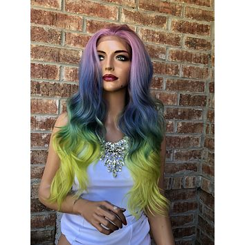 Rainbow Pastel Swiss Beach Waves lace front wig   Illusion 518 46*****