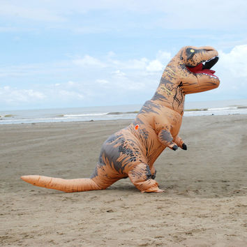 Adult  T-REX Inflatable Costume Halloween Cosplay Dinosaur Animal Fantasias Jumpsuit Halloween Costume for Women Men
