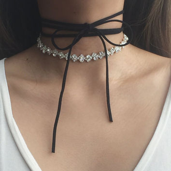 RESTOCKED! Triple-Tie Suede Ribbon Choker / Crystal Rhinestone Statement Necklace - Elle