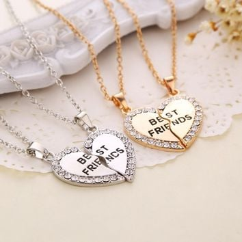 Charming matching heart-shaped pendant necklace best friend a letter Women gifts 2 color to choose jewelry