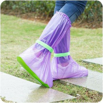 Reusable Rain Shoes Cover Women/Men/Children Thicken Waterproof High Tube Boots Sets C