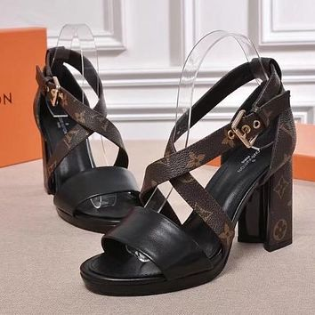 Louis Vuitton Women Fashion Casual Heels Shoes Sandals Shoes-5