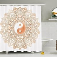 Boho Mandala Peace Unity Fabric Shower Curtain