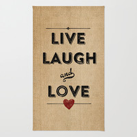 Burlap Live Laugh Love Area & Throw Rug by Marcee Duggar